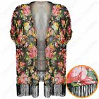 NEW LADIES FLORAL PRINT KIMONO WOMEN TASSEL FRINGE CHIFFON OPEN CARDI TOP LOOK
