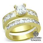 7.25 Ct Women's Ring Brilliant CZ 14K Gold Plated Stainless Steel Wedding TK6120
