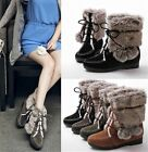 Womens Winter Rabbit Fur Lace Up Concealed Heel Ankle Boots Shoes Plus Size