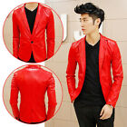 Unique Men's Punk Bomber Biker Motorcycle Slim Fit Faux PU Leather Jacket Blazer