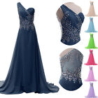 Shiny Long Beaded Chiffon Wedding Ball Gown Evening Prom Party Bridesmaid Dress