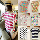 Women Casual Short Sleeve Loose Chiffon Stripe Floral Printed T Shirt Top Blouse