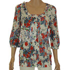 New Ladies Womens ex Dorothy Perkins Red White Blue Floral 100% Cotton Tunic Top