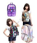 Silver/Purple  Hologram Backpack Shoulder Message Bag Daily Backpack Zipper Bag