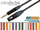 "Van damme Neutrik Black & Gold XLR Female-1/4"" 6.35mm Jack Lead NC3FXX-B NP3X-B"