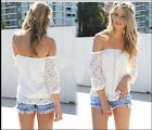 Loss Sales Sexy White Lace Off-shoulder Loose Tops Casual T-Shirt Blous New
