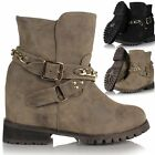 Ladies Womens Concealed Wedge Leather Style Biker Chelsea Riding Ankle Boots