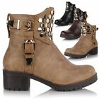 Ladies Women Leather Style Chunky Heel Biker Riding Ankle Calf Chelsea Zip Boots