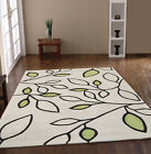 MEDIUM EXTRA LARGE MODERN LEAF GREEN ACRYLIC DESIGNER BUDGET PRICE RUGS