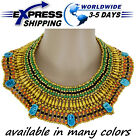 Egyptian Hand Made Beaded Cleopatra 7 Scarab Necklace Collar Christmas Dance New