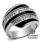 Women's Ring Black Silver Stainless Steel Simulated Diamond Cocktail TK1134