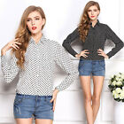 CHEAP Classy Polka Dots Vintage Women's Casual Shirt Summer Tops Leisure Blouse