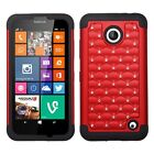 For Nokia Lumia 635 630 - Hard&Soft Rubber Hybrid Diamond Bling Fitted Skin Case