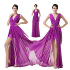New Long V Neck Bridesmaid Formal Gown Banquet Party Cocktail Evening Prom Dress