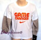 NIKE TOP TEE SHIRT LONG SLEEVE BOYS GAME SZ 4 5 6 7 WHITE NEW