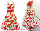 New 1950's Retro Red Rose Floral White Rockabilly Party Prom Halter Sun Dress