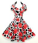 New H&R Ladies VTG 1940's 50's style Poppy Floral Polka Dot Tea Swing Dress