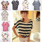 Womens Casual Printed T-Shirts Round Neck Ladies Girls Slim Outdoor Tops Blouses