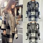 Women Long Sleeve Plaid Casual Loose Knitted Cardigan Coat Tops Sweater Hot Sale