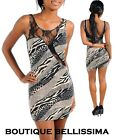 New Womens Sexy Animal Print Open Back Lace Fitted Cleavage Club Mini Dress