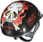 NEW ED HARDY SHORTY ( 1/2 HELMET ) FLAMING SKULL BLACK MOTORCYCLE/SCOOTER HELMET