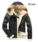 Mens Air Force Aviator Retro bomber Fleece FAUX Leather jacket coat with hat