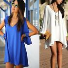 Sexy Lady Summer Casual Chiffon Blouse T-shirt Party Evening Cocktail Mini Dress