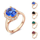 4 Colors Shining Oval Rhinestone Austrian Crystal 18K Rose Gold Plated Rings