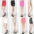 Sexy Retro PU Leather Pencil Short Mini Step Skirt OL Casual High Waist Skinny