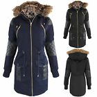NEW WOMENS BLACK PU TRIM FUR LINED HOOD PARKA LADIES JACKET COAT MILITARY LOOK