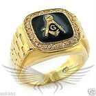 Men's Masonic Freemason Ring Gold Plated AAA CZ Cubic Zircon Accented 8X032