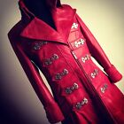 Impero ladies new antique vintage red long leather full length steampunk coat