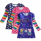 NEW Baby Toddler Girls Peppa Pig Long Sleeve Cotton Polka Dots Top Dress T-Shirt