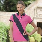Front Row Women's Contrast Diagonal Stripe House Polo Shirt Short Sleeve 10-18