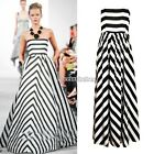 Sale Sexy Womens Stripe Maxi Long Chiffon Beach Party Cocktail Evening Dress N98