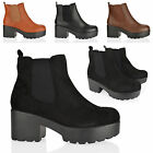 WOMENS LADIES MID BLOCK HEEL SLIP CHUNKY PLATFORM CHELSEA ANKLE BOOTS SHOES SIZE