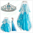 Frozen Elsa Anna Costume Disney Princess Girls Fancy Outfit Long Dress + Crown