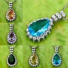 N/R Water-Drop Emerald Quartz & Green Amethyst Gemstone Silver Pendant Necklace