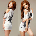 Women Floral Print T-shirt Off Shoulder Short Sleeve Long Tee Tops Mini Dress