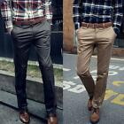 Elegant Men Leisure Solid Color Long Trousers Casual Slim Fit Straight Pants