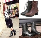 Womens Ladies Sexy Pointed Toe Lace Up Mid Heel Ankle Boots Shoes Plus Size 910