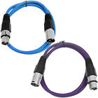2 Pack of XLR Patch Cables 3 Foot Extension Cords Jumper 3 Pin - Various Colors