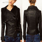 Fashion Woman Slim Leather Jacket Biker Motorcycle Lapel Outwear Short Overcoat