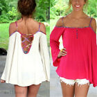 Sexy Woman Strap Long Trumpet Sleeve Blouse Casual Top Halter Chiffon Shirt Wild