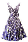 New Spot Pin up Vintage1950s style soft Purple Polka Dot Summer Swing Tea Dress