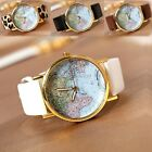 Vintage Women World Map Globe Fashion Leather Band Alloy Analog Quartz watches