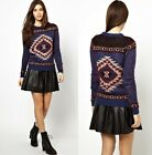 Fashion Euro Style Womens Knitted Aztec Tribal Pattern Pullover Sweater&Yarn Top