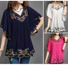 Women Embroidered Floral Gypsy Peasant Chic Batwing Boho Tunic Blouse Free Sz