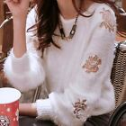 Fluffy Floral Embroidery Pullover Women Sweater Jumper Knitwear Outwear Knit Top