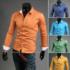 Mens Fitted Candy Color Casual Work Korean Plain Dress Shirt Five Color